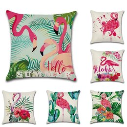 $enCountryForm.capitalKeyWord Australia - Page One Flower and Bird Theme Palm Leaves Flamingo Cactus Pillow Cushion Cover Home Decoration Gift Single-sided Printing Pillow Case