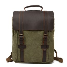 AttAche briefcAses online shopping - Vintage Classics Style Men Backpacks made of Genuine Leather and High Quality Canvas Briefcase Attache Case Boys Travel Backpack