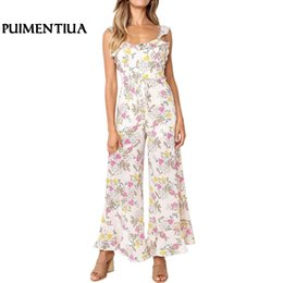 32dfd6552e24 Puimentiua 2019 Women Sleeveless Floral Print Jumpsuit Ruffled Strap  Backless Sexy Wide Leg Long Pant Summer Casual Romper