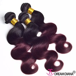 $enCountryForm.capitalKeyWord Australia - Ombre Human Hair Virgin Hair Extensions Body Wave 1B 99J Chinese Hair Weave 3 or 4 Bundles Can Be Dyed Can Be Permed