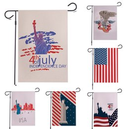 Wholesale Fourth of July Garden Flag American Flag Independence Day Memorial USA House Yard Flag Banner for Party Outside Garden Decor linen banner