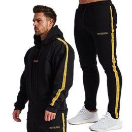 Jacket Pants Tracksuit Australia - YEMEKE Suit Men Set Running Jogger Tracksuit Autumn Fitness Bodybuilding Mens Hoodies+Pants Sport Down Jacket Winter Men Suit