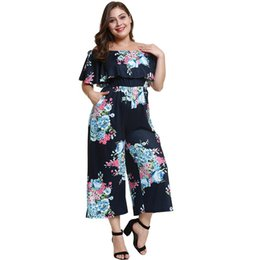 Wholesale wide leg jumpsuit backless resale online – Women Jumpsuit Elegant Plus Size XL Falbala Backless Pocket Off Shoulder Slash Neck Floral Casual Wide Legs Sexy Jumpsuit