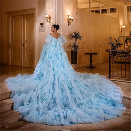 ball dresse blue NZ - Light Blue Prom Gown Short Sleeve Evening Dresse Layers Long Tail Prom Dress Formal Evening Ball Gowns Vestidos De Festa