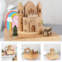 birthday party room decorations NZ - Carousel Musical Boxes Wooden Music Box Crafts Creative Retro Birthday Party Kid Gift Living Room Bedroom Desktop Decoration