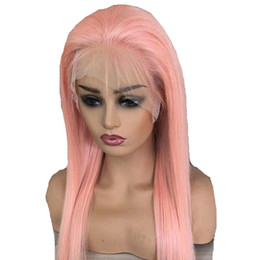 Long dark straight pink wig online shopping - Pink Full Lace Human Hair Wigs Pre Plucked Glueless Long Straight Unprocessed Virgin Brazilian Pink Lace Front Wig With Baby Hair