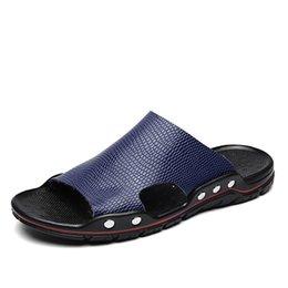 $enCountryForm.capitalKeyWord Australia - 2019 Summer PU Slippers Men Slides Non-Slip Black Blue Male Indoor Shoes Soft Man Designer Flip Flops Rubber Sole
