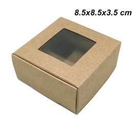 $enCountryForm.capitalKeyWord UK - Brown 8.5x8.5x3.5cm Kraft Paper Plastic Window Gift Christmas Event Day Packaging Box Paper Boadr Foldable Package Boxes for Candy Chocolate