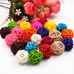 Craft Diy Christmas Gifts Australia - 5 10pcs 3cm Colorful Rattan Artificial Flowers Ball Christmas New Year Party Decoration Children Gifts Diy Craft Supplies C19041701
