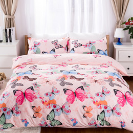 Butterfly sheet set queen size online shopping - pink butterfly bedding set luxury Bedding lines duvet cover set Pillowcase fitted sheet bedspread twin queen king size kids adul