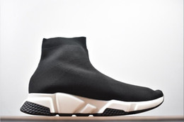 Slip Casual Shoes Cheap NZ - Cheap Women Mens Sock Speed Trainer Shoes Sneakers Knitting Slip-on High Quality Casual Walking Shoe Comfort All Black Chaussures