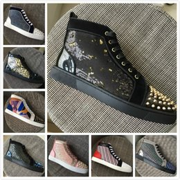Gold Spiked Red Bottom Australia - New Designer Brand Red Bottoms Men Women Crystal Glitters With Gold Spikes Toe High Top Casual Shoes Top Quality Luxury Trainers 35-47