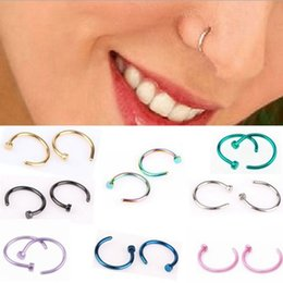 Fashion bohemian rings online shopping - Fashion Stainless Steel Nose Rings Body Piercing Jewelry Classic Metal Nose Hoop Earring Studs Fake Nose Rings Party Gift TTA941