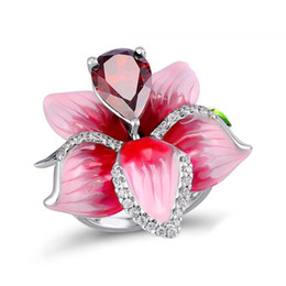 $enCountryForm.capitalKeyWord Australia - Vintage style 925 silver rose ruby ring ladies Europe and America fashion exaggerated jewelry party gift size 5-11