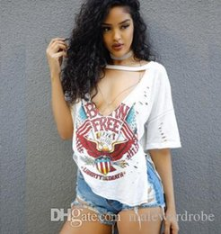 $enCountryForm.capitalKeyWord Australia - Women Deep V-neck Tshirt America Flag Printed Tshirts Holes Design White Tee Short Sleeved Tops