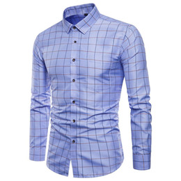 Wholesale white oxford shirt slim for sale – dress Mens Long Sleeve Oxford Formal High grade pure cotton Plaid Long sleeve shirts men s slim Fit Casual business shirt Top M XL