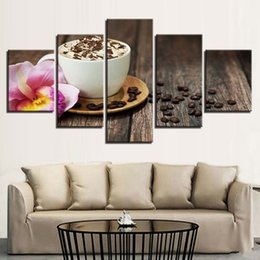 Piece kitchen wall art canvas online shopping - Canvas Paintings Wall Art Unframed Kitchen Restaurant Decor HD Prints Pieces Coffee Beans Flower Pictures Coffee Cup Poster