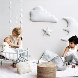 Kids Clouds Wall Stickers Australia - 3pcs set 3d Moon Cloud Star Wall Stickers Ins Nordic Style Children Room Decoration Kids Play Tent Hanging Ornament Photo Props Q190522