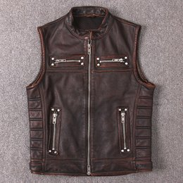 motorcycle jacket vest NZ - Genuine Cow Leather Vest Men's Real Leather Motorcycle Biker Vest High Quality Stand Collar Sleeveless Jackets Zipper Waistcoat