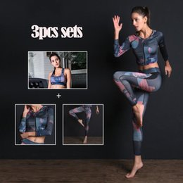 yoga pants workout wear NZ - 2019 Women Sport Suit Yoga Fitness Sets Sport Wear Running Leggings Sports bra+coat+Workout Gym Pants 3Pcs set Sports yoga sets