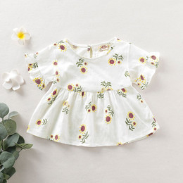 $enCountryForm.capitalKeyWord Australia - 2019 Baby Girls Infant Toddler Kids Clothes Floral Print Princess Pleated Outfits Shirt Little Girl Cotton Tops