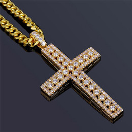 $enCountryForm.capitalKeyWord Australia - Religious Cross Pendant Necklaces For Men Bling Ice Out Jesus Crucifix Necklace Cubic Zirconia Luxury 18K Gold Plated Necklace Jewelry