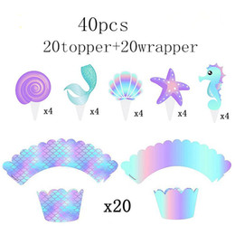 tool cupcakes Canada - 40pcs Pack Mermaid Cake Border Baby Cake Topper Kids Birthday Cupcake Wrapper Decorating Tool Wedding Birthday Party Supplies Y200618