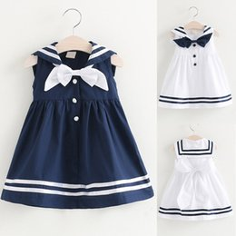 2c6a88fe367 Girls Dress Toddler Kids Baby Girls Clothes Sleeveless Navy Bowknot kids  dresses for Party Princess Dresses Dropshipping