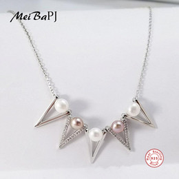 $enCountryForm.capitalKeyWord NZ - [MeiBaPJ] Fashion Real Natural Pearl Geometry Pendant Necklace 925 Sterling Silver Pendant Necklace Party Jewelry for Women