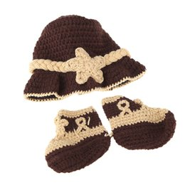 Crocheted Shoes For Babies Australia - Baby Infant Trilby Fedora Hat Cap & Shoes Crochet Knitting Costume Soft Adorable Clothes Photo Photography Props for Newborns