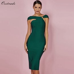 Wholesale knee length rayon dresses resale online – Ocstrade Bandage Party Dresses New Arrivals Green Bandage Bodycon Rayon Dress Sexy Off Shoulde Knee Length Bandage Dress Q190423