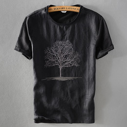 97fbb517b42d 2019 New arrival black t shirt men summer linen tshirt male round neck  embroidery flax short sleeve t-shirt mens casual camisa