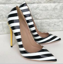 Shoe Stripes Australia - new type black white stripe Women's High heeled shoes 8cm 12cm 10cm Cusp Fine heel Single shoes Big code 44 wedding banquet red bottom shoes