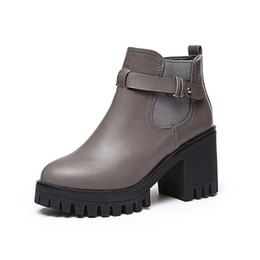 Gothic Shoes Boots UK - New Winter Women Black medium Heel Boots Buckle Gothic Punk Ankle Boots Shoes