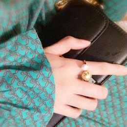 jewelry pearl rings hollow pattern metal balls geometry open rings simple for women hot fashion on Sale