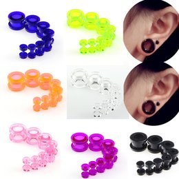 Red Ear Plugs Jewelry Australia - Candy Colors Plastic Body Piercing Jewelry Set Double Hollow Screw Flared Ear Plugs Flesh Tunnel Punk Earrings