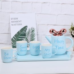 ceramic watering pot NZ - 1L Bow-knot Ceramic Glazed cold water bottle kettle+4 pieces 250ml cup tea pot coffee set with tea tray Gift