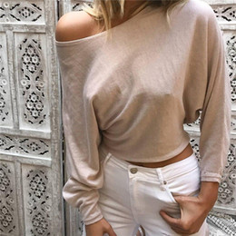 cropped tees Australia - 2017 Fashion Women's Casual Solid Long Sleeve Crop Neck Top T Shirt Summer Loose Tops Tees Shirts
