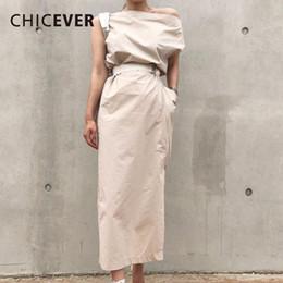 Wholesale dress korean chiffon fashion woman for sale – plus size Summer Dresses For Women Sexy Slash Neck Hem Split Big Pocket Waist Lace Up Slim Dress Female Korean Fashion Tide New