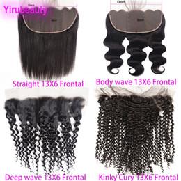 venda por atacado Brazilian Virgin Hair 13x6 Lace Frontal Frontal Corpo Direto Onda Deep Wave Kinky Curly Peruano Índico Malásia Cabelo Humano 13 por 6 Fecho de Laço