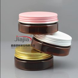 cosmetics pink box 2021 - 50g brown PET Jar with Aluminum gold pink white lid. Metal Box Aluminum Bottle Cosmetic Packaging Container