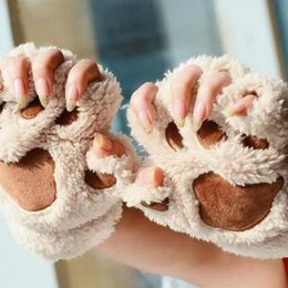 animal claw gloves Canada - Warmth Fingerless Plush Gloves Fluffy Bearr Claw   Cat Animal Paw Soft Warm Lovely Cute Half Finger Covered Gloves for Girls