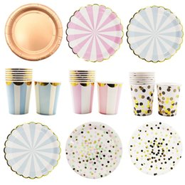 $enCountryForm.capitalKeyWord Australia - Birthday Wedding Party Decorations Hot stamping Gold Pink Paper Stripe Paper Cup Plate Flag For kids Baby Shower Boy Girl Gift