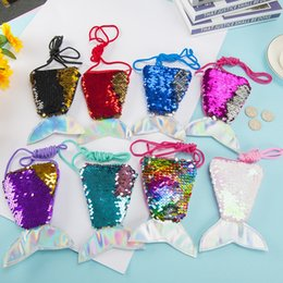 korean children purses Australia - Mermaid tail sequin lanyard coin purse children diagonal long rope coin bag small wallet wholesale