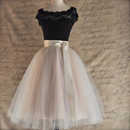 Wholesale black knee length petticoat skirt resale online - 26 Colors Layered cm Knee Length Tulle Skirt Tutu Women Skirt High Waist Pleated Cosplay Petticoat Elastic Belt Faldas
