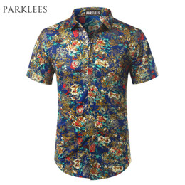blue shirt design man Canada - Blue Velvet Floral Shirt Men Brand Design Silk Mens Dress Shirts Casual Slim Fit Short Sleeve Chemise Homme Camisa Masculina 3XL
