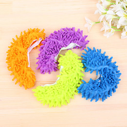 Kitchen Special Offers Australia - 2pcs pair Top Fashion Special Offer Polyester Solid Dust Cleaner House Bathroom Floor Shoes Cover Cleaning Mop Slipper