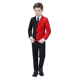 Discount school clothes for boys - 2019 Flower Blazer for Boys School Suit Children 4 Pcs Clothing Sets for Boys Official Suit for a Wedding Birthday Suits