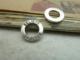 $enCountryForm.capitalKeyWord Australia - 50Pcs Antique Silver believe Circle Charm Pendant Jewlery Making