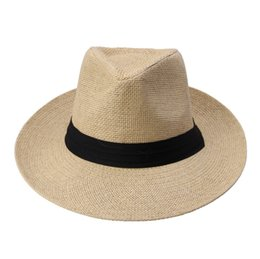 $enCountryForm.capitalKeyWord NZ - Hot Fashion Summer Casual Unisex Beach Trilby Large Brim Jazz Sun Hat Panama Hat Paper Straw Women Men Cap With Black Ribbon C18122501